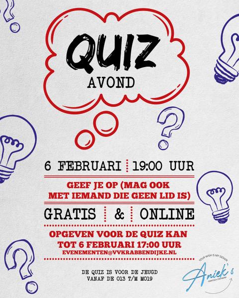 Zaterdagavond 6 februari: Online 'Kahoot' Jeugd kantinequiz voor junioren