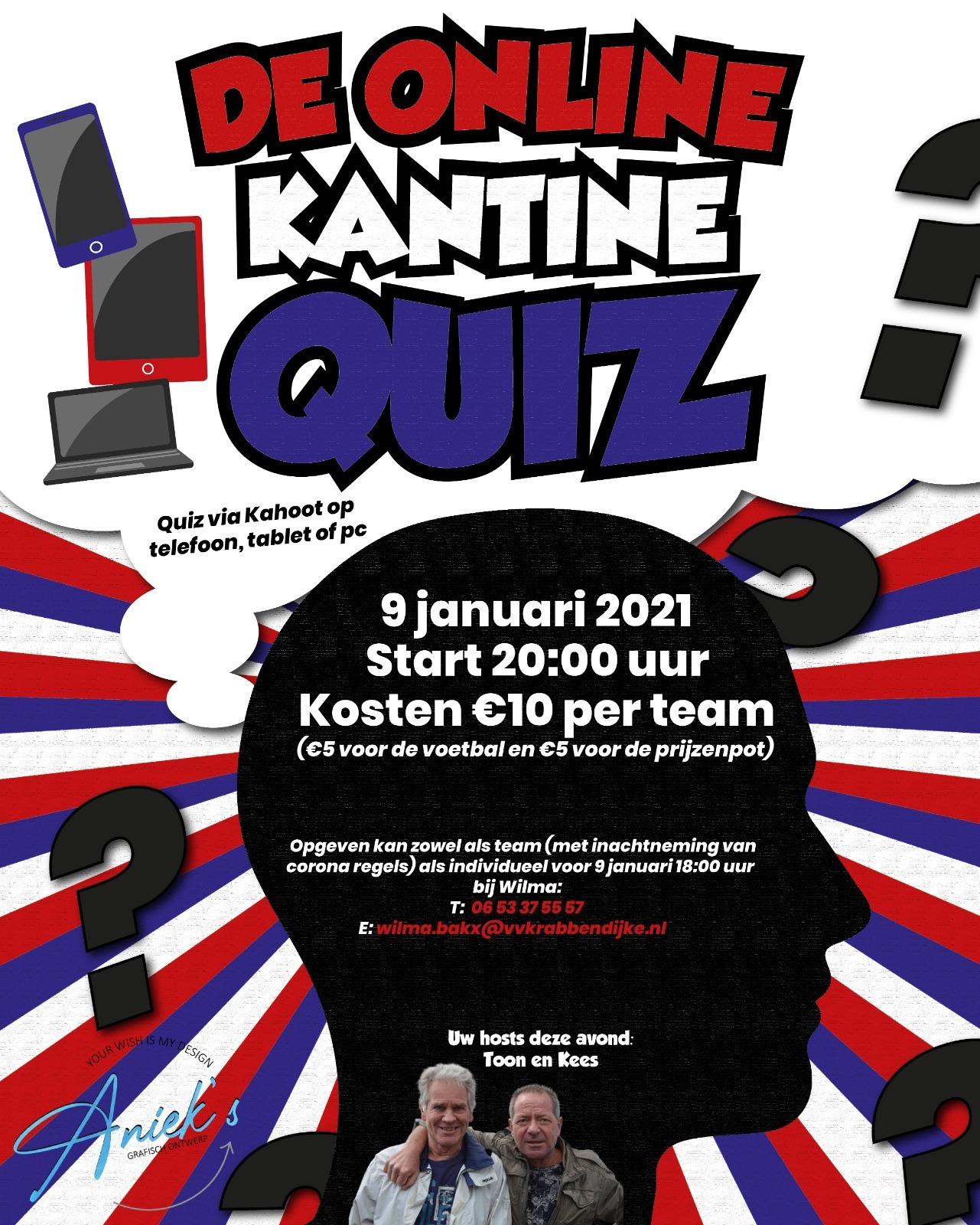 Zaterdag 9 januari - De Online Kantine Quiz